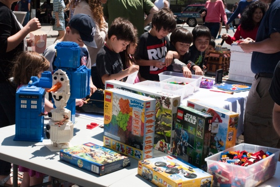 Youngsters avail themselves of LEGO bricks at the LIC Springs event May 17
